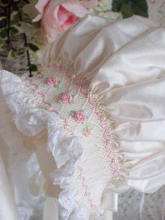 Silk Smocked Baby Bonnet by decidedlyromantic on Etsy