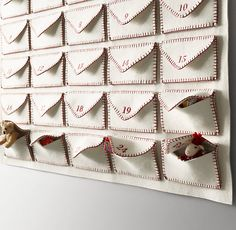 Wool Felt Envelope Advent Calendar - Ivory/Red