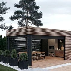 Cooking outdoors at Outdoor Kitchen brings a different sensation. We can use our patio / backyard space to build outdoor kitchen. Outdoor kitchen u. Backyard Patio, Backyard Landscaping, Patio Grill, Backyard Fireplace, Backyard Kitchen, Pergola Patio, Backyard Office, Fireplace Outdoor, Grill Area