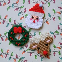 Plastic Canvas: Christmas Fun Mini Magnets (set of 3 -- reindeer, wreath and Santa) by ReadySetSewbyEvie on Etsy