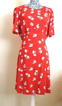 6dbca9dc9ed6 Details about Vintage Daisy Floral Red Tea Dress Midi Slit Sleeve Summer  Holiday Plus Size 18