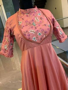 Beautiful peach color floor length dress with floret lata design hand embroidery work. Saree Blouse Neck Designs, Dress Neck Designs, Kurthas Designs, Indian Designer Outfits, Designer Dresses, Blouse Designs Catalogue, Long Gown Dress, Sleeves Designs For Dresses, Indian Gowns Dresses