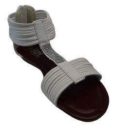 4b0d4a705e6 Womens White Crystal Rhinestone Gladiator Sandals Zipper Back Low Wedge  Shoes (6)