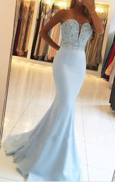Strapless Sweetheart Mermaid Prom Dresses with Beaded Bodice #prom #promdress #dress #eveningdress #evening #fashion #love #shopping #art #dress #women #mermaid #SEXY #SexyGirl #PromDresses