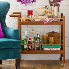 How to prep for a party like setting up a well stocked bar cart