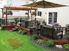 Wondering how to maximize your decks potential? Check out this deck for inspiration. It features ample seating and relaxation areas, a pergola, and tons of shaded areas.