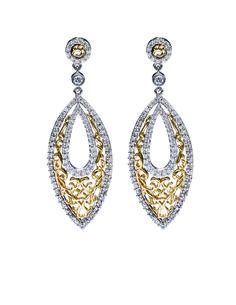 20dbdb460 Ladies Two-tone Filigre Style Earrings with round brilliant cut diamonds. J  Douglas Jewelers · Designs by Gabriel and Company