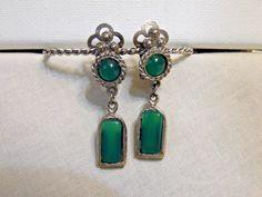 Vintage Art Deco/Art Nouveau Dangly Clip On Earrings,Jade,Chrysoprase,Silvertone, Lucite Earrings by BessyBellBooks on Etsy