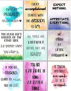 9 affirmation posters [watercolor] Personally, I have these letter-size posters laminated and put one out … Art Quotes, Motivational Quotes, Life Quotes, Wisdom Quotes, Classroom Quotes, Mental Training, Affirmation Cards, Teacher Appreciation Week, Quotes For Kids