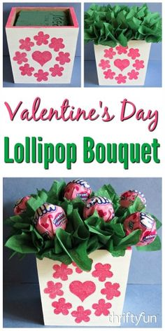 Use a wooden box to make a sweet bouquet of candy suckers for someone you love. This is a guide about making a lollipop Valentine's day arrangement.