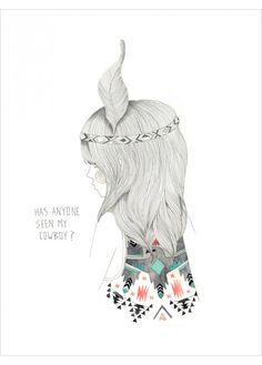 Affiche de Leigh Harrington - Illustration Indien Cowboy Folk Art