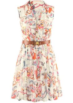 Alluring Print Design Turndown Collar A Line Dress