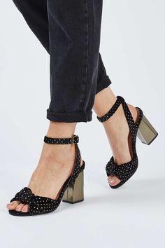 8195ee8eb00754 ROCKSY Velvet Heeled Sandals Topshop Sale