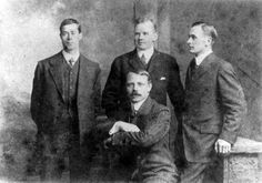 Officers who survived the sinking of the RMS Titanic are pictured in an undated photo. From left: Fifth Officer Harold G. Lowe, Second Officer Charles H. Lightoller, Third Officer Herbert J. Pitman (seated) and Fourth Officer Joseph G. Boxhall. The largest ship afloat at the time, the Titanic sank in the north Atlantic Ocean on April 15, 1912, after colliding with an iceberg during her maiden voyage from Southampton to New York City.  (The New York Times)