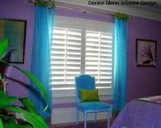 25 Bold Bedroom Designs Created with Bright Bedroom Colors blue and green curtains and upholstery fabrics for bedroom decor, purple wall paint and green accents [. My New Room, My Room, Girl Room, Purple Rooms, Purple Walls, Blue And Green Curtains, Turquoise Curtains, Blue Curtains, Bedroom Green