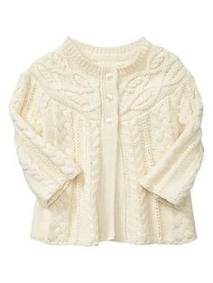 Cable-knit swing cardigan