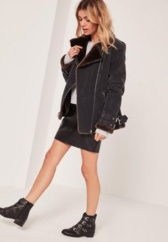 Missguided - Faux Fur Lined Aviator Jacket Black And Brown