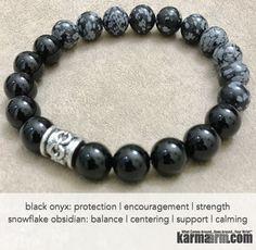 Yoga Bracelets. Men Women. Beaded Prayer Mantra Spiritual Mala. Snowflake Obsidian Black Onyx Chain. #LOA
