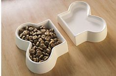 Two Piece White Ceramic Dog Dishes for Food and Water: Cool and simple food and water set. Miles likes modern design.