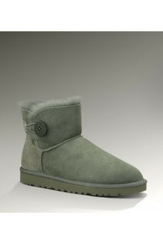 UGG Women's Sheepskin Bailey Button Gray Mini Boots