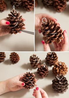 Learn how to make your own Pinecone Fire Starters! In this detailed step by step tutorial we share exactly how to make pinecone fire starters that would make terrific winter wedding favors or great gifts! Pine Cone Art, Pine Cone Crafts, Pine Cone Decorations, Homemade Christmas Decorations, Crafts For Kids To Make, Diy And Crafts, Felt Crafts, How To Make, Pinecone Firestarters