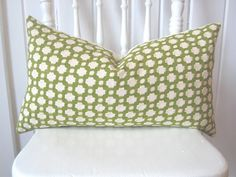 Schumacher Betwixt Grass/ Ivory lumbar pillow