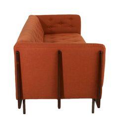 the hannah sofa w walnut spines u0026 bronze legs by thomas hayes studio