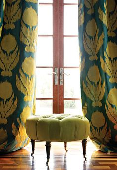 Drapes in Agra Silk Weave from Schumacher. Beautiful and dramatic.