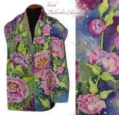 Silk scarf Peonies of Dew  batic Hand painted