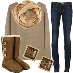 uggs, scarf, cozy sweater,  pretty much want cold weather just to wear this.