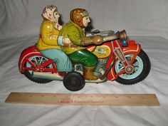 "VERY RARE 1950s Japan Tin Friction Friendly Motorcycle I.Y. Metal Toys 12"" #IYMetalToys"