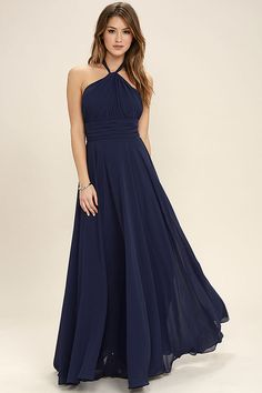 Lulus Exclusive! You'll be a force of nature on the dance floor in the Dance of the Elements Navy Blue Maxi Dress! Woven poly drapes into a halter bodice with adjustable strap that loops through a keyhole at the neck, and ties at back. A pintucked waistline accentuates your figure before flowing into a full, maxi skirt. Hidden back zipper/clasp.