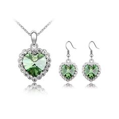 [$6.81] Austrian Crystal Necklace Earrings Set - Glass Heart (Colour: Olive Green)