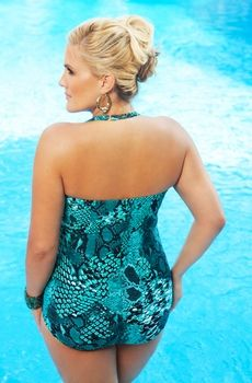 Women's Plus Size Swimwear - Always 4 Me Serpent 1 Pc Underwire Bandeau Style #AFM128 - Sizes 16W-24W - JUST ARRIVED  Back view