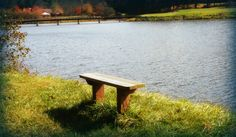 Bench overlooking the lake at the golf course in Sky Valley, GA