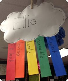 Acrostic poem in rainbow form- cute! Would be nice to have hanging for Open…