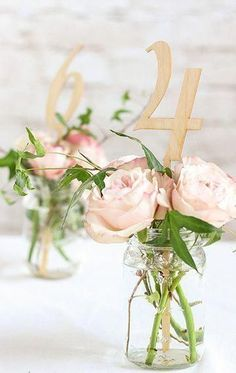 These wood table numbers are perfect for a rustic travel themed wedding 2019 - summer decor summer dessert summer table decorations summer wedding decor summer wedding decor ideas - summer decor -Summer Vintage Dresses 2019 Wedding Table Centerpieces, Flower Centerpieces, Diy Wedding Table Numbers, Spring Wedding Decorations, Rustic Table Decorations, Spring Wedding Themes, Wedding Table Arrangements, Spring Wedding Flowers, Wedding Table Flowers