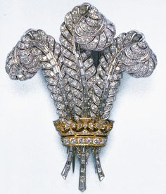 Duchess of Windsor diamond Prince of Wales plume brooch purchased at auction in 1987 by Elizabeth Taylor.