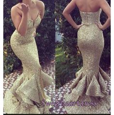 Sparkly gold satin sequin long mermaid prom dress, ball gown 2016 #coniefox