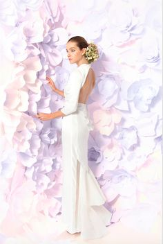 """""""Carey"""" silk duchesse backless column gown with silk organza fluted skirt by Lesley de Freitas couture, bridal collection"""