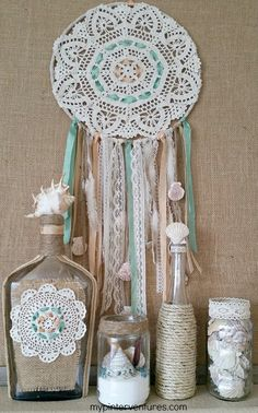Glass Bottle Recycle - Seashell bottle with vintage doily