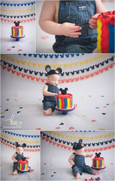 Mickey Mouse 1st Birthday theme - Mickey Mouse Cake Smash Photography for 1st birthday