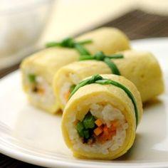 Rolled Egg Omelet W/ Kimchi (Gyeran Mali) Recipes — Dishmaps
