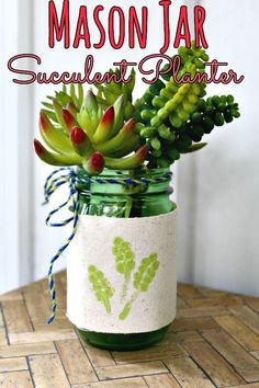 DIY Mason Jar Planter - If you love doing mason jar crafts, you'll adore this upcycled mason jar succulent vase! This simple, budget friendly craft looks great in any home! Upcycled Home Decor, Upcycled Crafts, Diy And Crafts, Mason Jar Succulents, Mason Jar Planter, Mason Jar Crafts, Mason Jar Diy, Diy Love, Green Craft