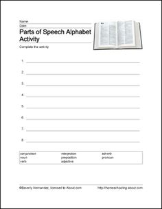 Parts of Speech Printables - Parts of Speech Wordsearch. Print the Parts of Speech Word Search and find the Parts of Speech related words.: Parts of Speech Alphabet Activity