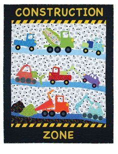 """""""Construction Zone Quilts"""" from Colorful Quilts for Playful Kids by Janet Pittman. We love these applique templates for kids! Cement mixers, dump trucks, tow trucks, and bull dozers will make a super-fun playtime quilt for your favorite truck-loving little one! Find it online: http://landauerpub.com/Colorful-Quilts-for-Playful-Kids.html"""