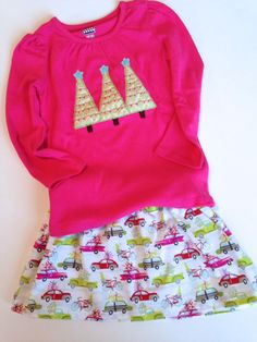 Toddler Girls Christmas Outfit with Blend Fabrics Tree Shopping Skirt