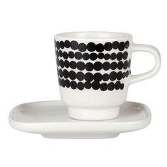 Siirtolapuutarha espresso cup and plate by Marimekko.