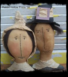 love these~! Primitive Thanksgiving Pilgrims William and by Rabbithollowprims, $19.95