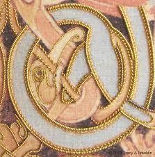 Tracy A Franklin - specialist embroiderer: Lindisfarne Gospels return . Long And Short Stitch, Straight Stitch, Illuminated Letters, Illuminated Manuscript, Saint Matthew, Biblical Art, Cut Work, Gold Work, Running Stitch